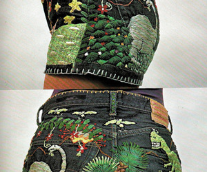 shorts, dinosaurs, and embroidery image