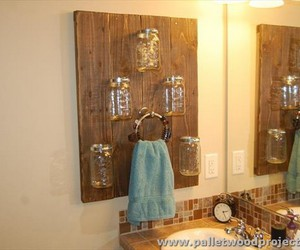 pallet towel rack, pallet bathroom cabinet, and pallet bathroom projects image