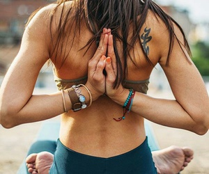 fitness, girl, and meditation image
