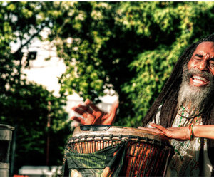 drums, dreads, and happy image