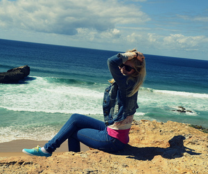 beach, jeans, and blonde image