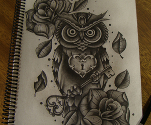 owl, drawing, and tattoo image