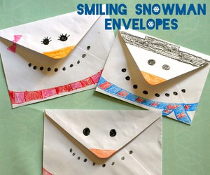 smiling snowman envelopes image
