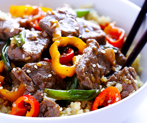 bell pepper, garlic, and chinese food image