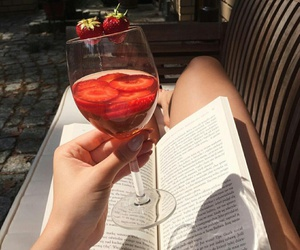 girl, book, and drink image