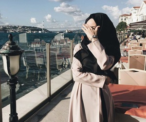 clouds, sky, and muslimgirl image
