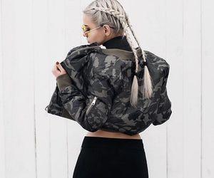 girl, style, and bomber jacket image