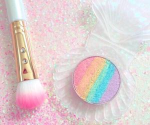 makeup, rainbow, and pink image
