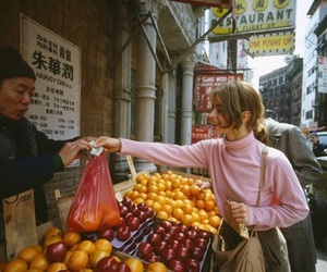 girl, fruit, and street image