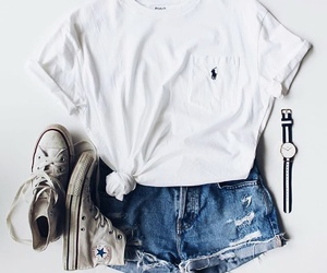 all stars, style, and white t-shirt image