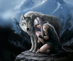 fantasy, wolf, and girl image