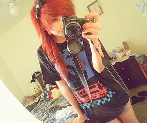 red hair, scene girl, and cute image