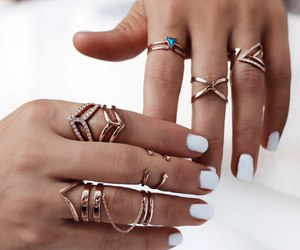 manicure, rings, and white nails image