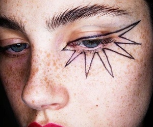 girl, make up, and freckles image