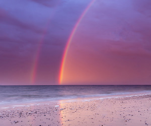 rainbow, sky, and beach image