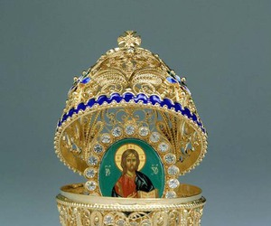 faberge egg, gems, and gold image