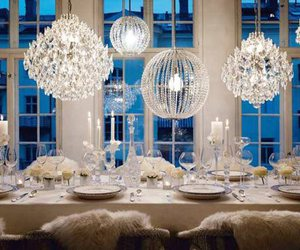 chandelier, white, and dinner image