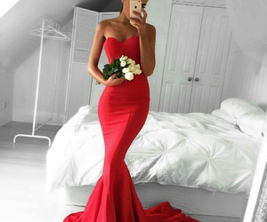 dress, red, and flowers image