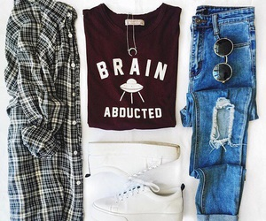 fashion, graphic tee, and sneakers image