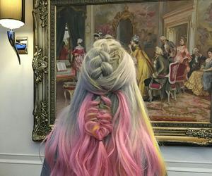 pink, hair, and grey image