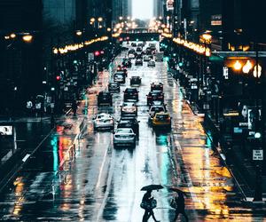 city, light, and rain image