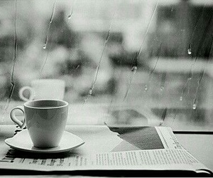 rain, coffee, and black and white image