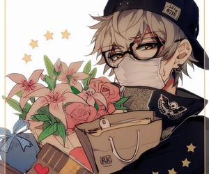 anime, boy, and flowers image