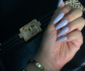 acrylics, purple nails, and jewelry image