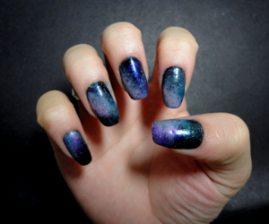 black, blue, and galaxy image