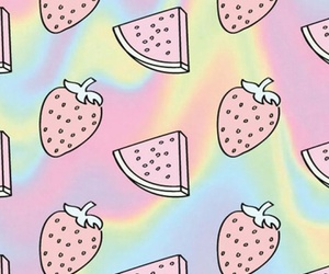 wallpaper, strawberry, and watermelon image