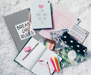 school, notebook, and book image