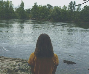 forest, water, and girl image