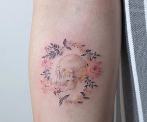 tattoo, background, and flowers image