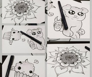 adorable, big eyes, and flower image