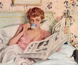 vintage, bed, and coffee image