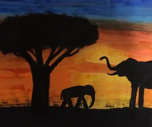 africa, draw, and elefants image