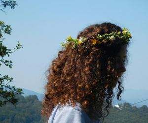 curly hair, flowers, and girl image