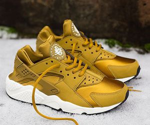 gold, nike, and shoes image