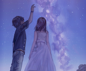anime, couple, and sky image