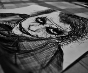 joker, black and white, and drawing image