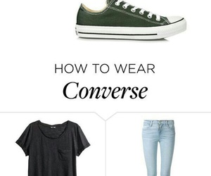 black shirt, blue jeans, and converse image