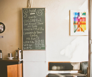 chalk board, diner, and kitchen image