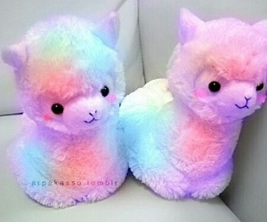 cute, rainbow, and alpaca image