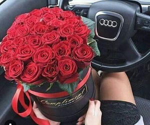 audi, flowers, and car image