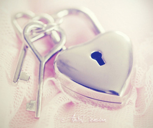 key, heart, and pink image