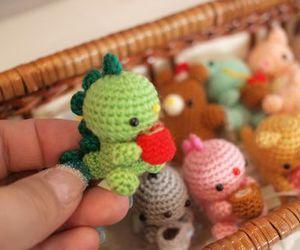 amigurumi, dinosaur, and green image