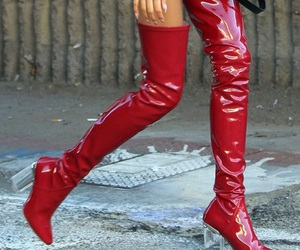 red, boots, and fashion image