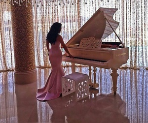 dress, piano, and luxury image