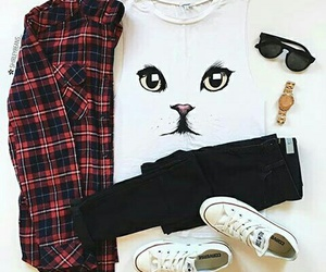 cat, outfit, and converse image