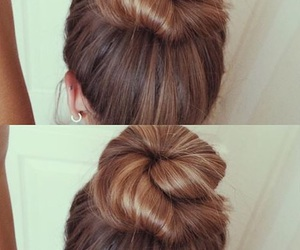 girly, hairstyle, and bun image